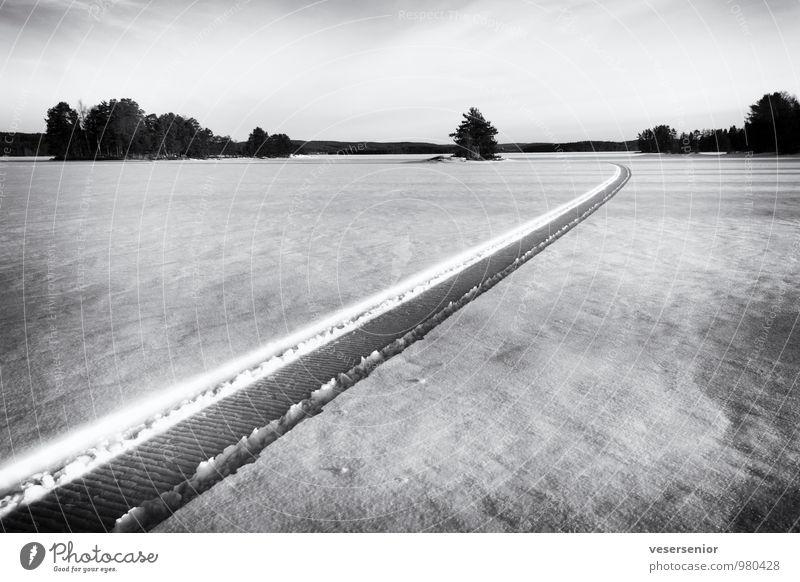wohin? Natur Einsamkeit Landschaft Ferne Winter kalt Umwelt Schnee Freiheit See Eis frei Abenteuer einzigartig Unendlichkeit Frost
