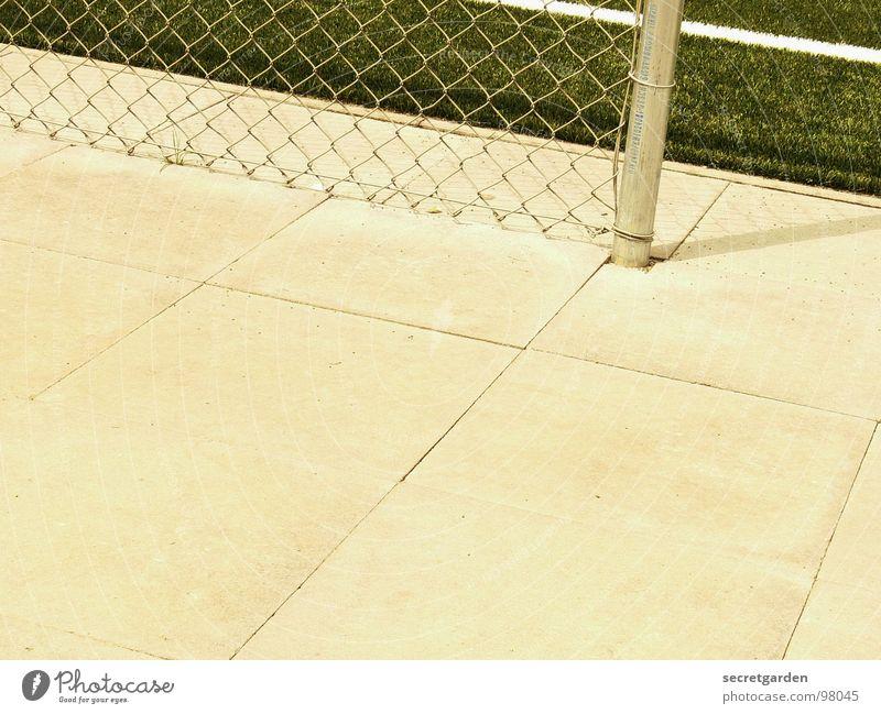 pfosten! Spielfeld Kunstrasen Randzone Maschendrahtzaun grün Bildausschnitt Quadrat Sportplatz Am Rand Raum Sommer Zaun Spielen Grenze Freizeit & Hobby