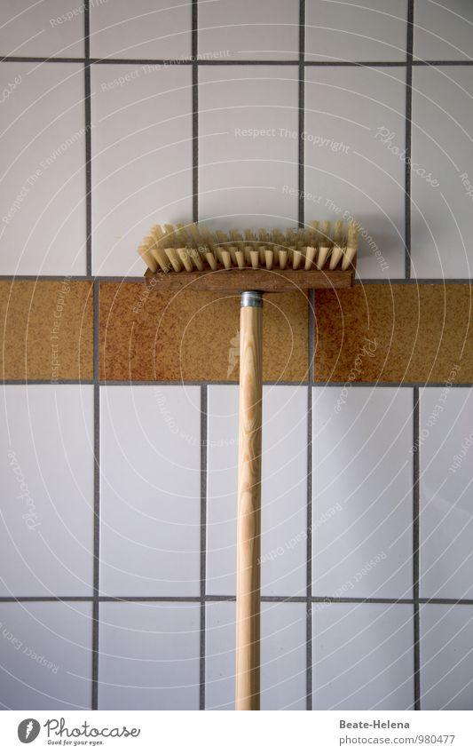 blaumachen | Da muss der einfach mal hängen bleiben weiß Wand Holz Mauer braun Arbeit & Erwerbstätigkeit Wohnung Kraft Sauberkeit Reinigen Pause Stress Fliesen u. Kacheln hängen eckig Willensstärke