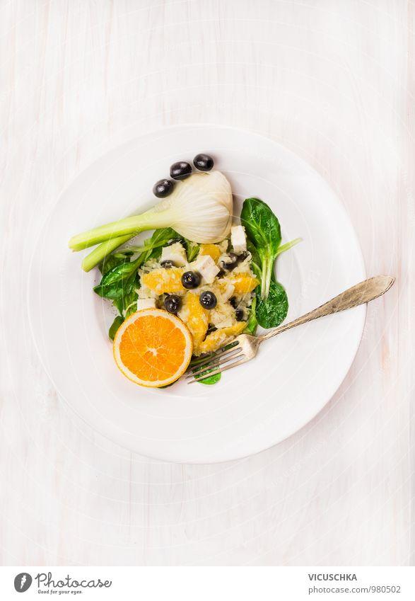 Fenchel, Orangen und Frischkäse Salat Lebensmittel Käse Gemüse Salatbeilage Frucht Kräuter & Gewürze Öl Mittagessen Festessen Bioprodukte Vegetarische Ernährung