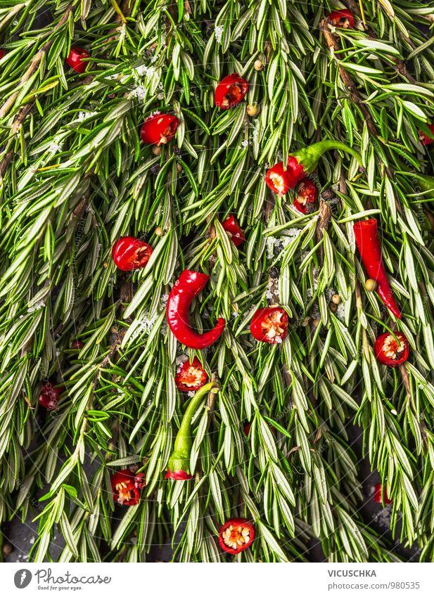 Rosmarin und rote Chili Natur grün Stil Hintergrundbild Lebensmittel Foodfotografie Design Ernährung Scharfer Geschmack Kochen & Garen & Backen