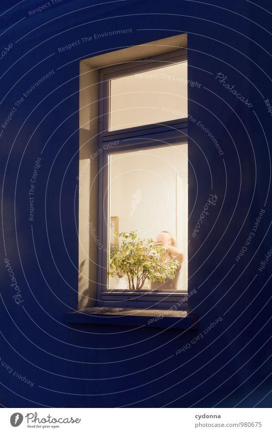 Einblick Lifestyle Gesundheit Häusliches Leben Wohnung Raum Mensch Junge Frau Jugendliche 18-30 Jahre Erwachsene Mauer Wand Fassade Fenster Angst Beratung