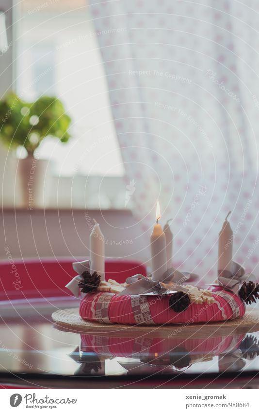 erster Advent Weihnachten & Advent weiß ruhig Gefühle Beleuchtung Stil Spielen Lifestyle Feste & Feiern rosa Design Freizeit & Hobby ästhetisch Warmherzigkeit Kerze Duft