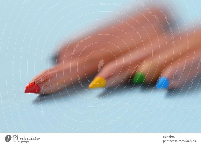 malen Farbstift Rotstift blau gelb grün rot Kreativität zeichnen Farbfoto mehrfarbig Innenaufnahme Menschenleer Textfreiraum links Textfreiraum rechts
