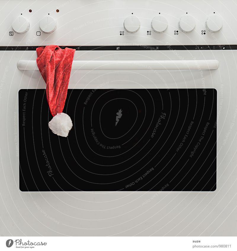 Der Ofen ist aus ... Weihnachten & Advent weiß rot lustig klein Zeit Feste & Feiern außergewöhnlich Mode Design Kreativität einfach Idee Kochen & Garen & Backen Zeichen Wunsch