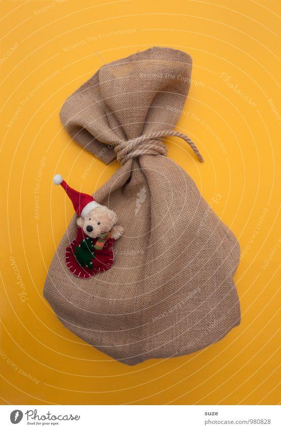 WeihMa Bastelset | Sack gelb lustig klein Geschenk einfach niedlich graphisch Tradition schenken Bär Weihnachtsgeschenk Verpackung Jutesack