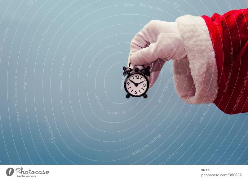 Es wird Zeit ... kaufen Stil Design Uhr Feste & Feiern Weihnachten & Advent Hand Bekleidung Arbeitsbekleidung Mantel Handschuhe Zeichen lustig blau rot weiß