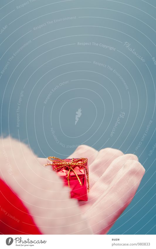 Für dich ... Stil Design Feste & Feiern Weihnachten & Advent Hand Bekleidung Arbeitsbekleidung Handschuhe Zeichen einfach schön klein niedlich blau rot weiß