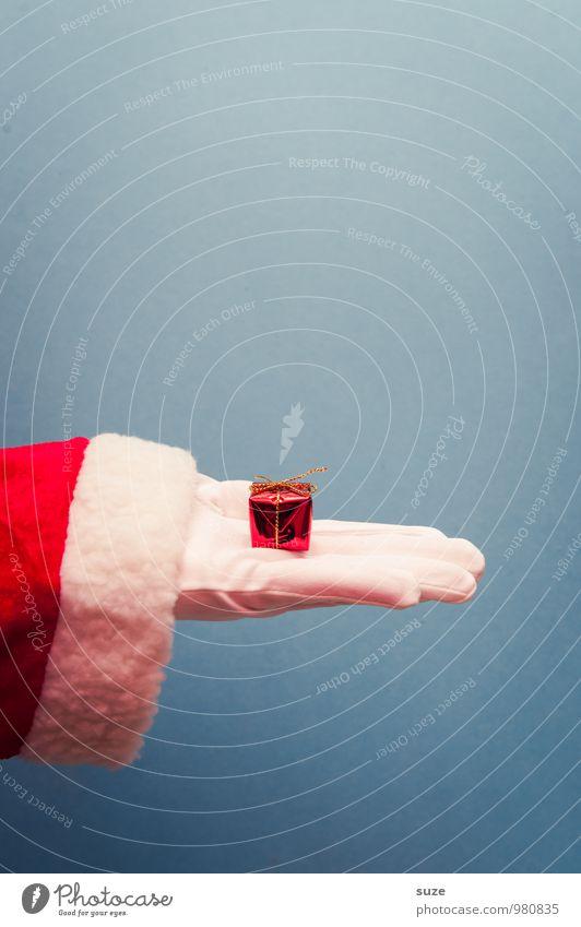 Hinhaltetaktik Stil Design Feste & Feiern Weihnachten & Advent Hand Bekleidung Arbeitsbekleidung Handschuhe Schleife Zeichen einfach schön klein niedlich blau