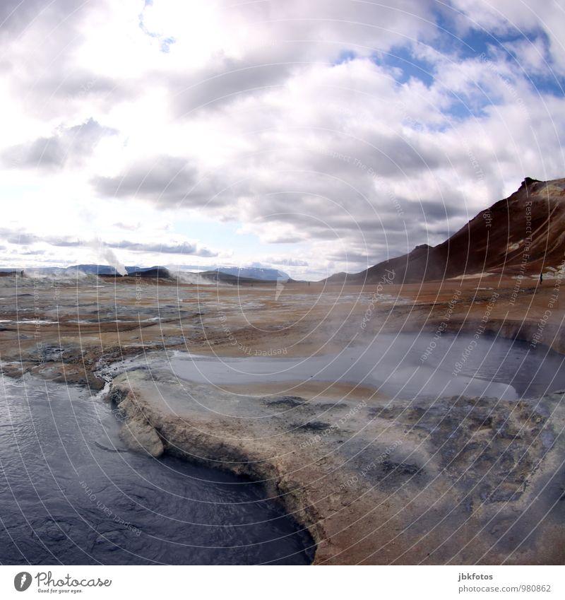 ISLAND / Námafjall Natur Ferien & Urlaub & Reisen Pflanze schön Wasser Landschaft Wolken Umwelt Berge u. Gebirge Wärme Freizeit & Hobby Erde Kraft wandern