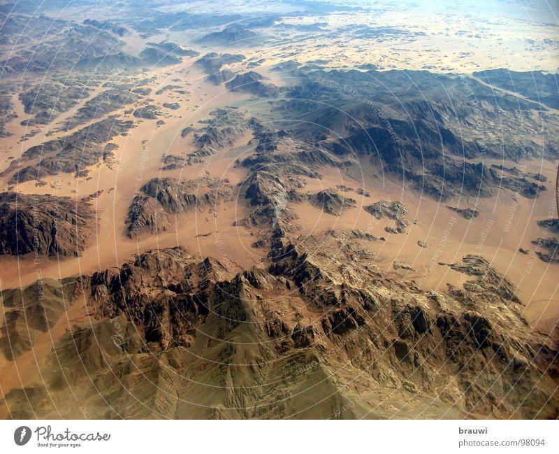Ägypten Nil Luftaufnahme Flugzeug Berge u. Gebirge Afrika Wüste Sand weites Land