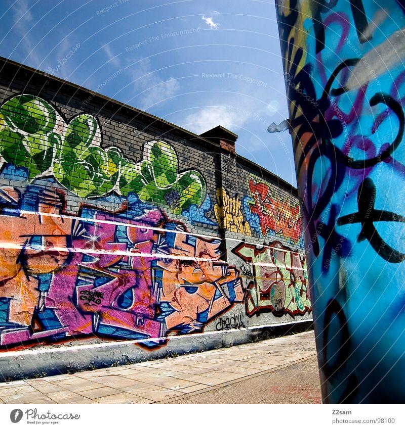 schlachthof II Himmel Wolken Farbe Wand Graffiti Mauer Kunst modern Coolness Buchstaben Backstein Kreativität München Gemälde Stadtteil lässig