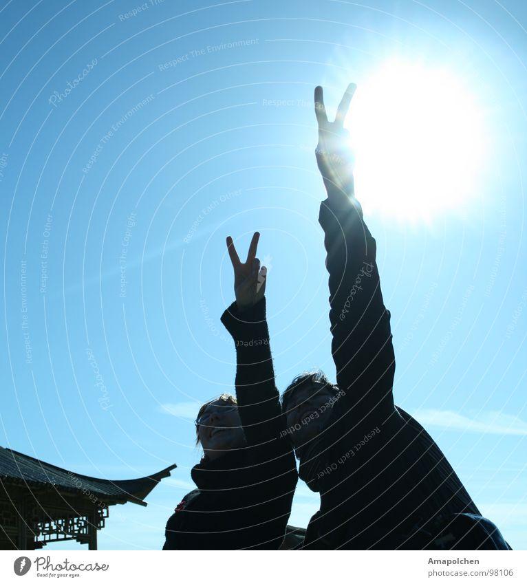 Der Sonne entgegen Mensch Jugendliche Junge Frau Glück Paar paarweise Erfolg Fröhlichkeit Lebensfreude positiv Euphorie Blauer Himmel Umwelt gestikulieren