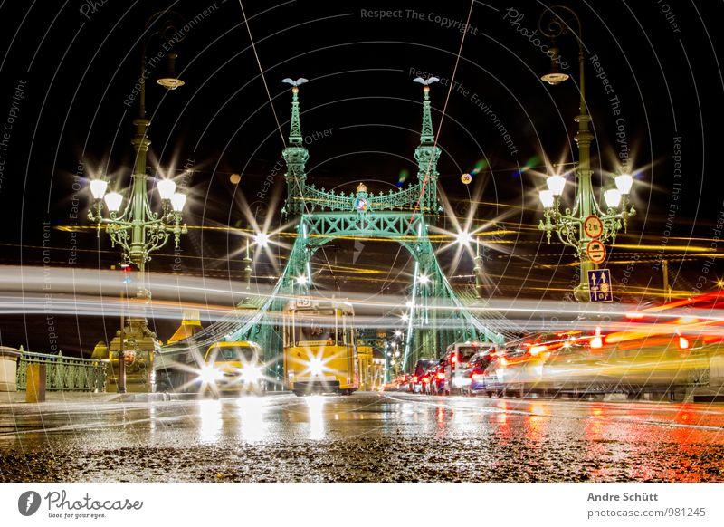 Budapest Stadt alt Szabadság híd Liberty Bridge Freiheitsbrücke Langzeitbelichtung Brücke Landkreis Regen nass Streetlife Ungarn Farbfoto