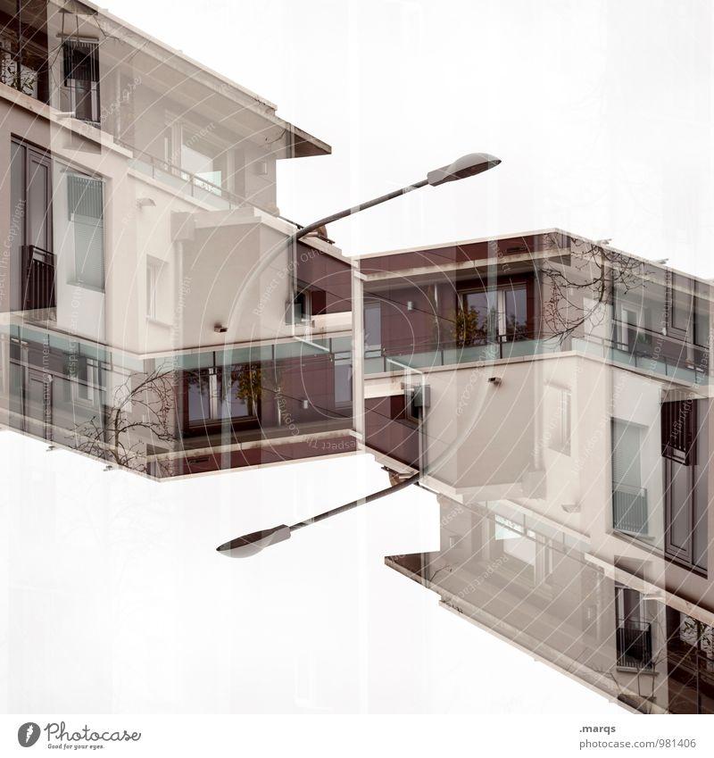 Neubau Lifestyle Stil Häusliches Leben Haus Bauwerk Gebäude Architektur Fassade Balkon Fenster Flachdach Straßenbeleuchtung modern neu Perspektive Surrealismus