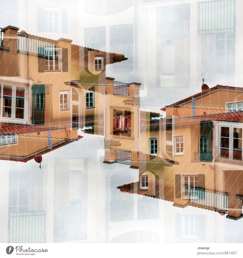 Mediterran Farbe Haus Fenster Architektur Stil Gebäude Lifestyle Fassade Häusliches Leben Perspektive Dach neu Bauwerk Balkon mediterran Reichtum