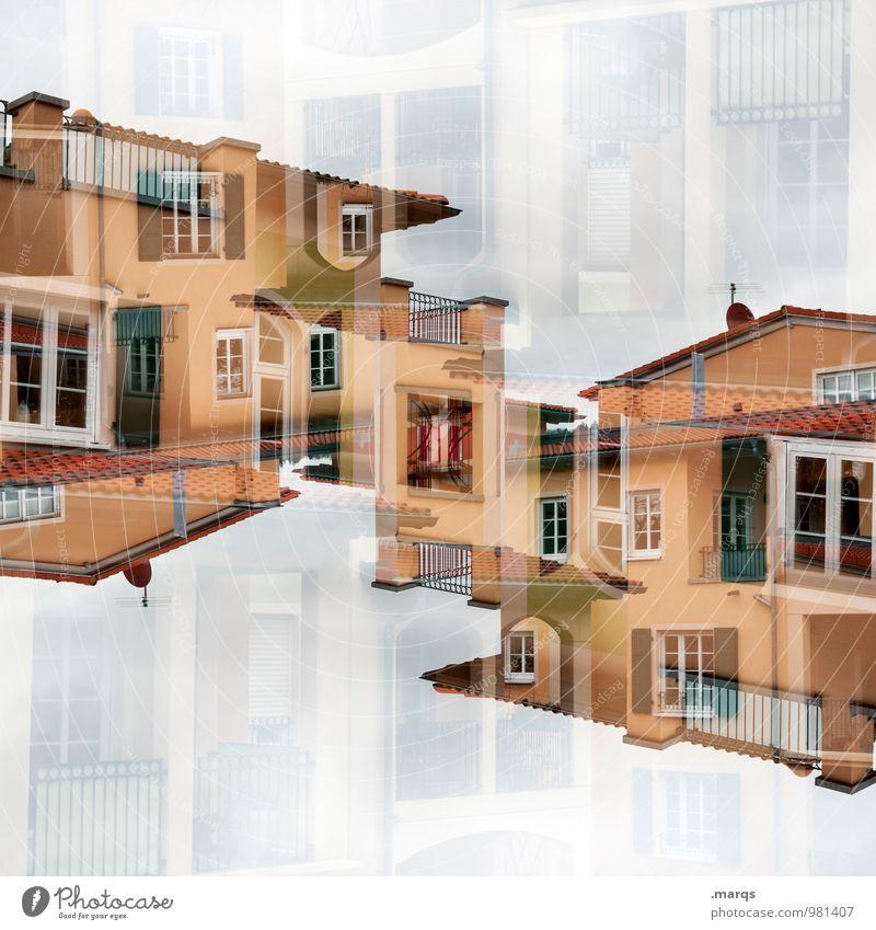 Mediterran Lifestyle Stil Häusliches Leben Haus Bauwerk Gebäude Architektur Fassade Balkon Fenster Dach mediterran neu Farbe Perspektive Surrealismus Symmetrie