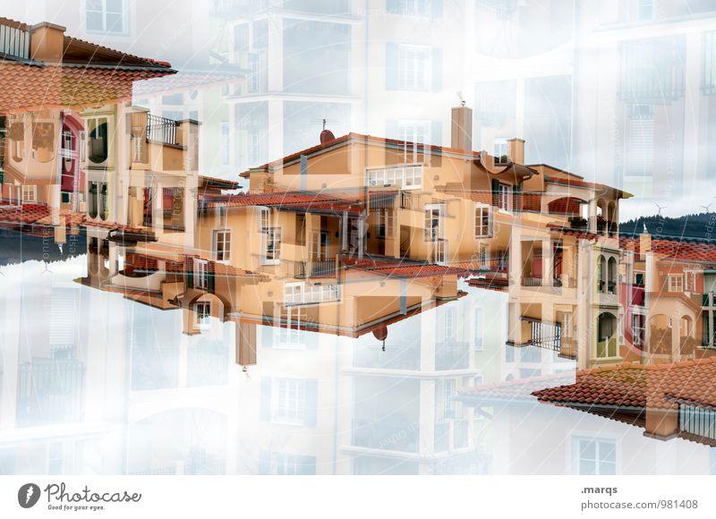 Palast Farbe Haus Fenster Architektur Gebäude Fassade Häusliches Leben modern Perspektive einzigartig Dach neu Balkon trendy Reichtum Doppelbelichtung