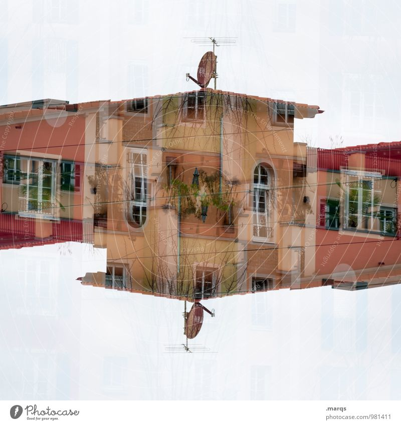 Residenz Lifestyle Stil Design Haus Gebäude Architektur Fassade Fenster Satellitenantenne Häusliches Leben außergewöhnlich Coolness trendy einzigartig modern