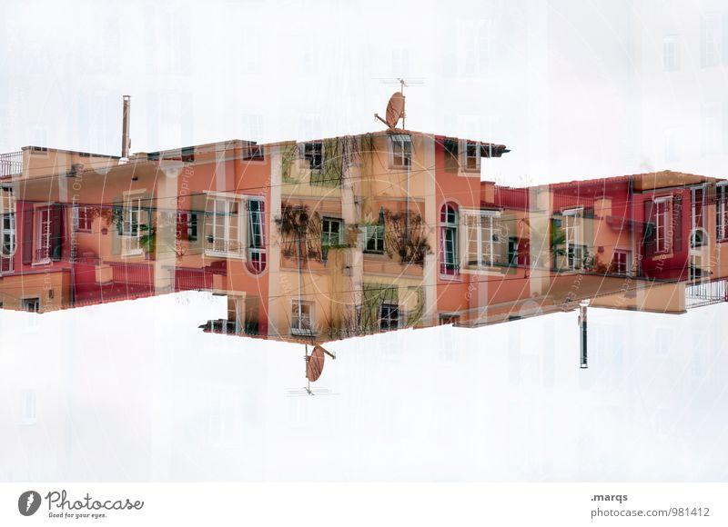 Auf Empfang Farbe Haus Fenster Architektur Gebäude Fassade Häusliches Leben Design Perspektive verrückt planen Bauwerk Balkon Surrealismus Doppelbelichtung Symmetrie