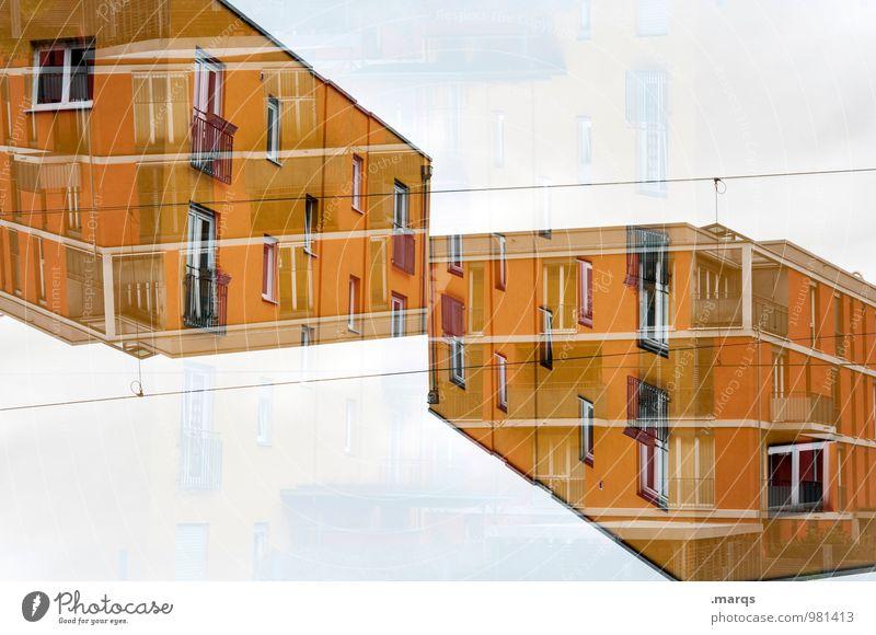 Kubisch Farbe Haus gelb Architektur Gebäude außergewöhnlich Design modern Perspektive verrückt Zukunft trendy Irritation Geometrie Doppelbelichtung Symmetrie