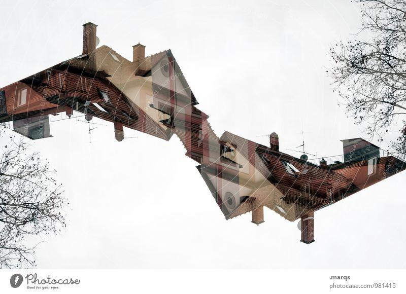 Stockwerk | Dachgeschoss Haus Architektur Gebäude außergewöhnlich Wohnung Häusliches Leben Perspektive verrückt einzigartig Bauwerk Irritation Schornstein