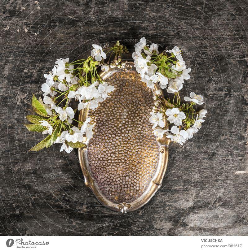 Kupfer Tablett mit Wildkirsche Blumen Natur alt Pflanze Blatt dunkel Blüte Frühling Stil Holz Hintergrundbild Garten Metall Dekoration & Verzierung Design Tisch