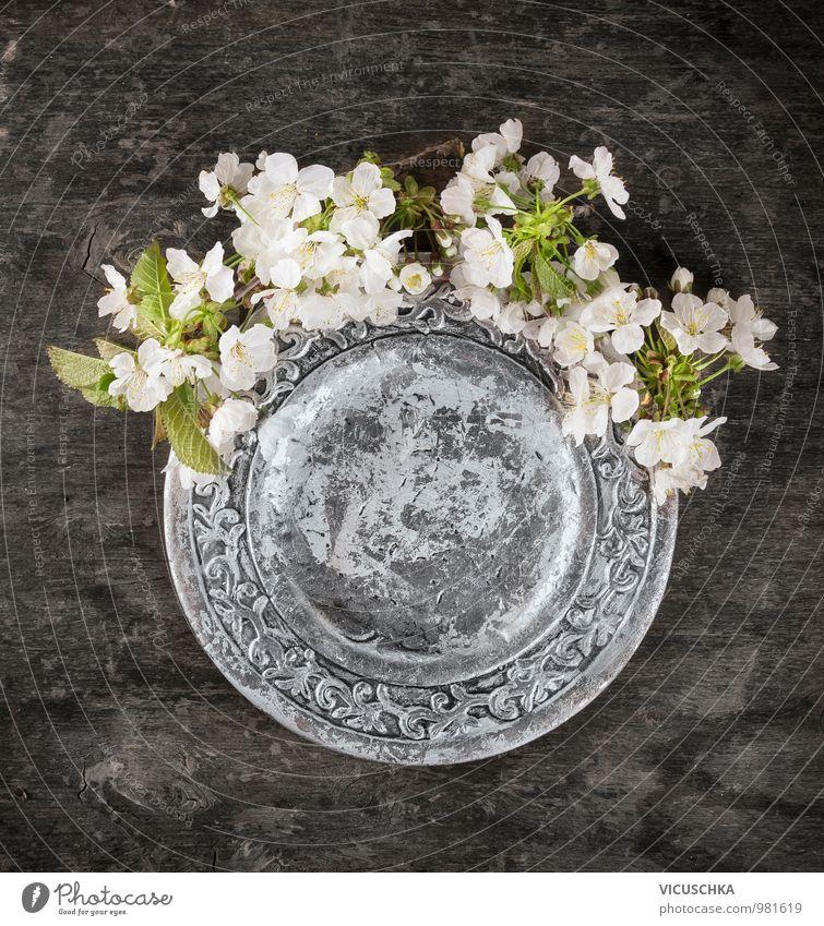 Wildkirsche Blüte um silbernen Teller Pflanze dunkel Innenarchitektur Frühling Stil Holz Garten oben Wohnung Dekoration & Verzierung Design Perspektive Tisch