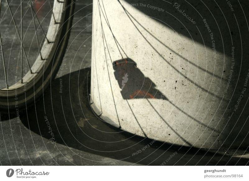 speicherios Fahrrad Flur schwarz weiß Felge Reflektor Mantel Schlauch Schatten Detailaufnahme Dradesel Säule Schwarzweißfoto Speichen