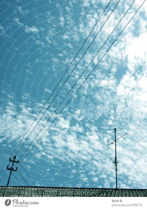_//_____l__ Elektrizität Energiewirtschaft himmelblau Wolken Altokumulus floccus Stromlinie Dach Dachfirst Antenne Dachziegel Leitung diagonal Oberleitung