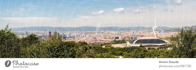 Panorama - Barcelona - Olympiastadion Himmel Natur Ferien & Urlaub & Reisen Stadt Sommer Landschaft Haus Ferne Berge u. Gebirge Architektur oben Lifestyle