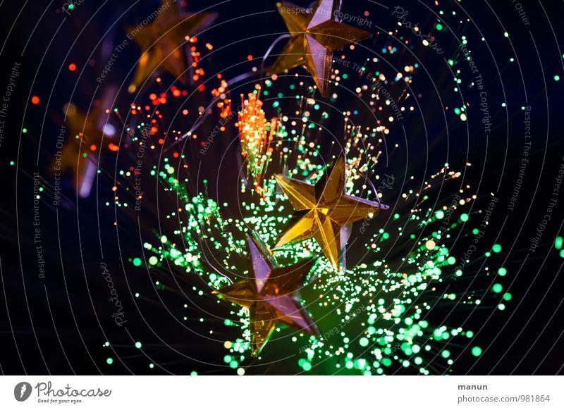 Sternenhaufen Feste & Feiern Weihnachten & Advent Weihnachtsdekoration Weihnachtsfigur Weihnachtsbeleuchtung Zeichen Stern (Symbol) glänzend Farbfoto Experiment