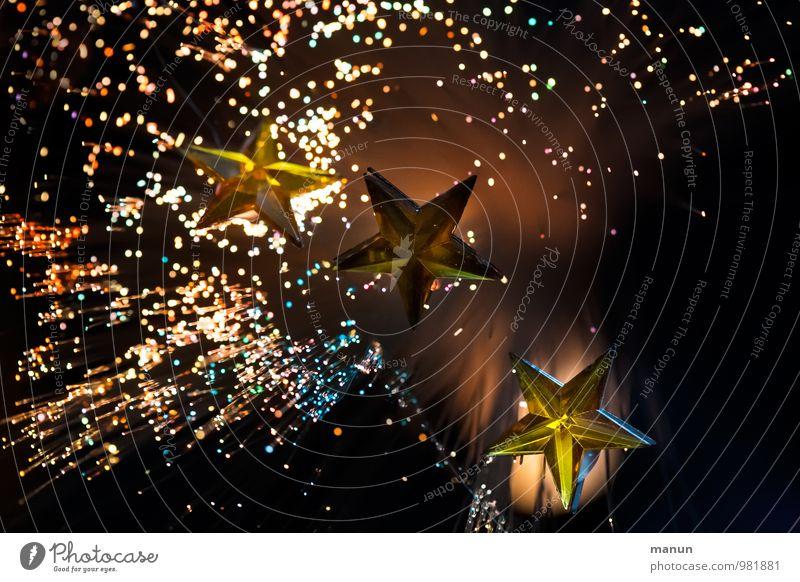 Weihnachtskarte Veranstaltung Feste & Feiern Weihnachten & Advent Dekoration & Verzierung Zeichen Stern (Symbol) glänzend Kitsch braun gold Farbfoto Nahaufnahme