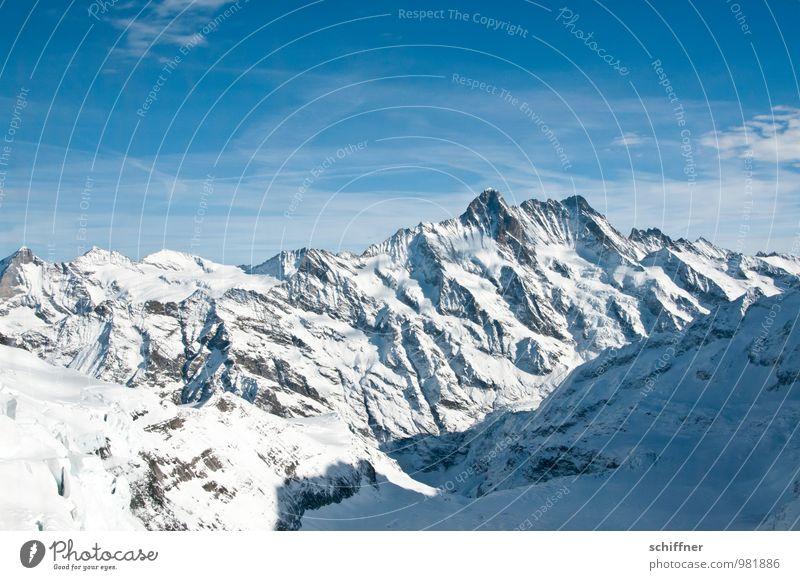 Auf zur Jungfrau! Natur Landschaft Winter kalt Umwelt Berge u. Gebirge Schnee Felsen Eis Klima Schönes Wetter Urelemente Gipfel Frost Alpen