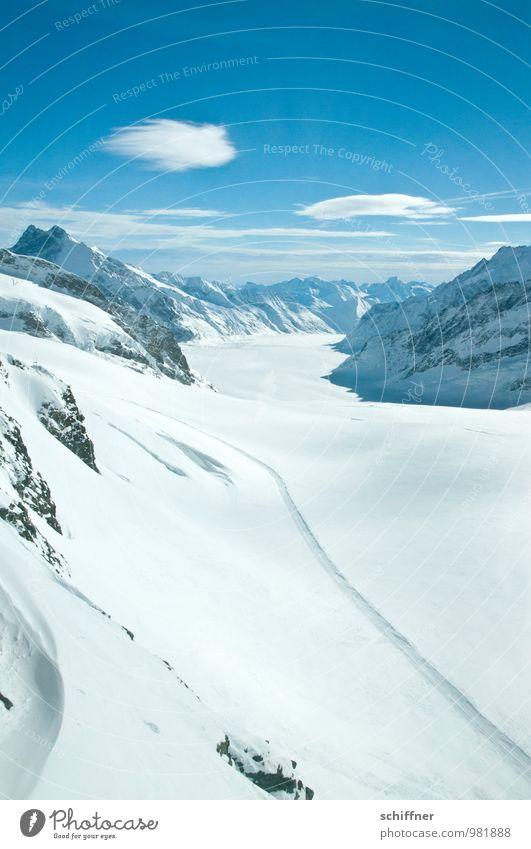 Latsch zu Aletsch Umwelt Natur Landschaft Himmel Wolken Sonnenlicht Klima Klimawandel Schönes Wetter Felsen Alpen Berge u. Gebirge Gipfel Schneebedeckte Gipfel