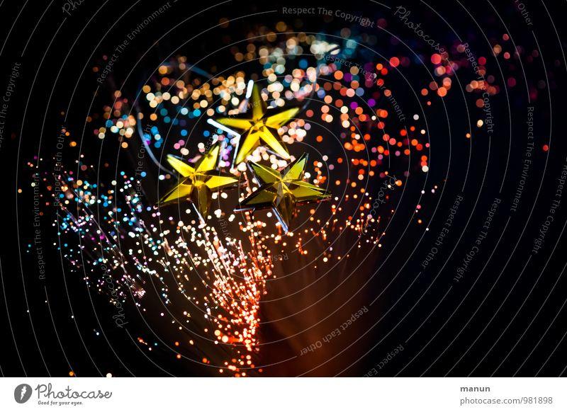 Glitzersterne Feste & Feiern Weihnachten & Advent Dekoration & Verzierung Zeichen glänzend mehrfarbig schwarz Fröhlichkeit Farbfoto Menschenleer