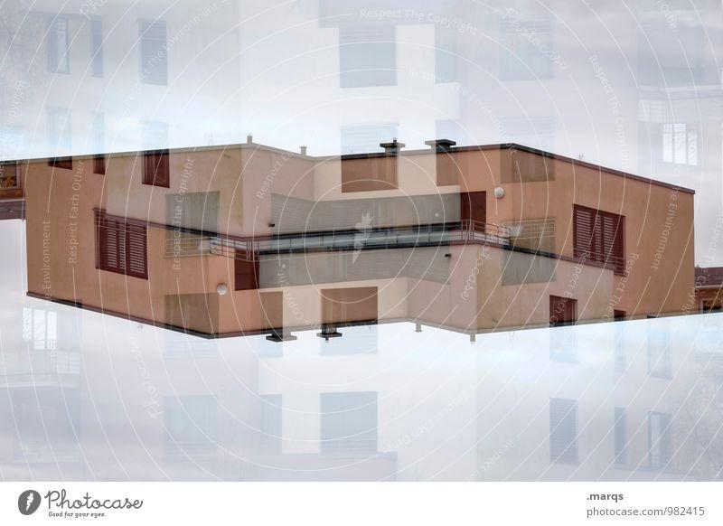 Flachdach Stil Haus Bauwerk Gebäude Architektur Fassade Balkon Fenster Dach Häusliches Leben außergewöhnlich verrückt Perspektive Surrealismus Symmetrie