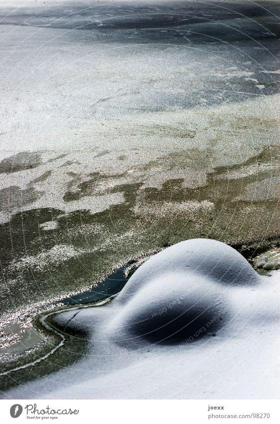 Winterstrukturen Wasser kalt Schnee See Eis Küste rund weich Hinterteil Idylle Hügel gefroren Kurve hart Gegenteil