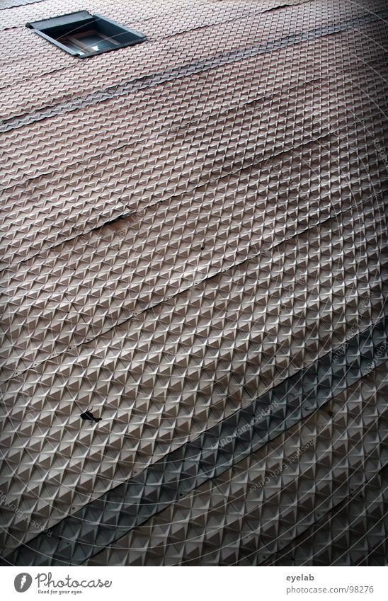 Looks like Eierpappe, is aber keine ! alt Haus Fenster Wand Gebäude grau dreckig Dekoration & Verzierung trist hoch einfach Vergänglichkeit Kunststoff verfallen Maske Kreuz