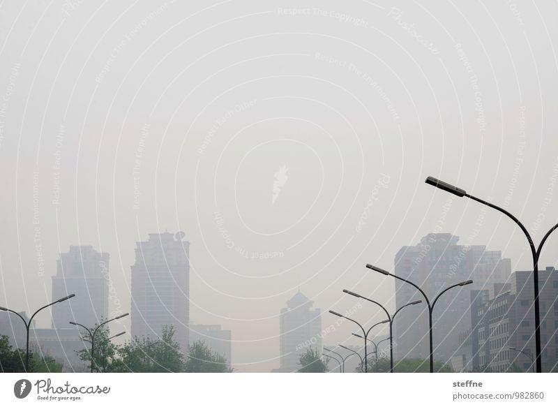 fehlende Weitsicht Peking China Stadt Skyline Haus Hochhaus Laterne Nebel Smog Farbfoto Gedeckte Farben Außenaufnahme