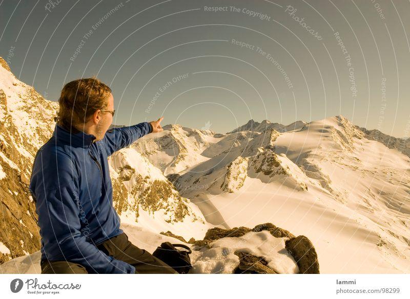 sieh mal da Winter Pause genießen träumen Aussicht Spuren Wintersport Großglockner Hohen Tauern NP Berge u. Gebirge Aplen Schnee Stein Felsen