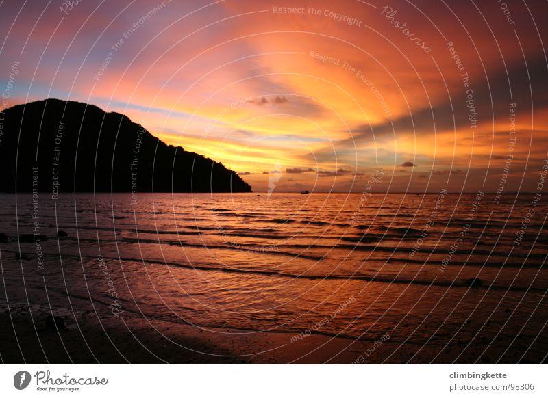 Sonnenuntergang Strand Meer Asien Thailand Phi Phi island Erholung