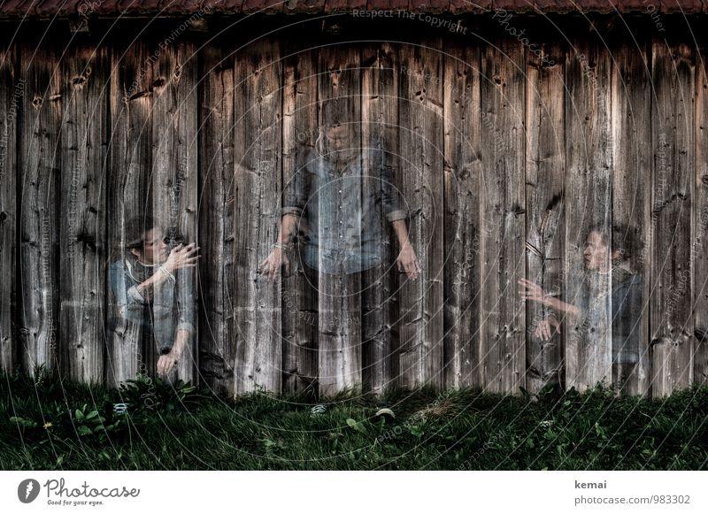 Help yourself Lifestyle Mensch feminin Frau Erwachsene Körper 3 30-45 Jahre Gras Mauer Wand Holzwand sitzen stehen Gefühle Vertrauen Schutz Sympathie