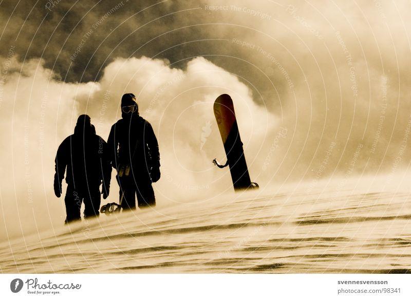 Lords Of The Boards Mensch Himmel Natur Sonne Wolken Winter kalt Schnee Sport Eis Abenteuer Gipfel Sonnenbad Sturm Ereignisse Snowboard
