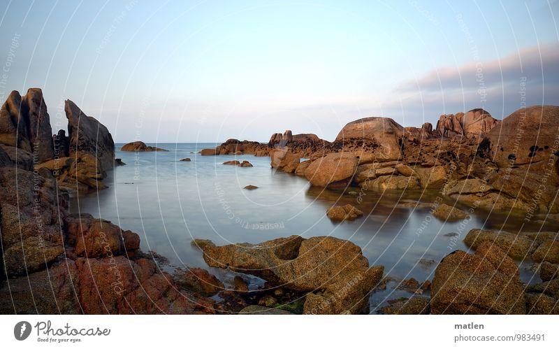 Windstille Himmel Wolken Horizont Sonnenaufgang Sonnenuntergang Sommer Wetter Schönes Wetter Felsen Küste Bucht Fjord Meer Menschenleer blau braun bizarr
