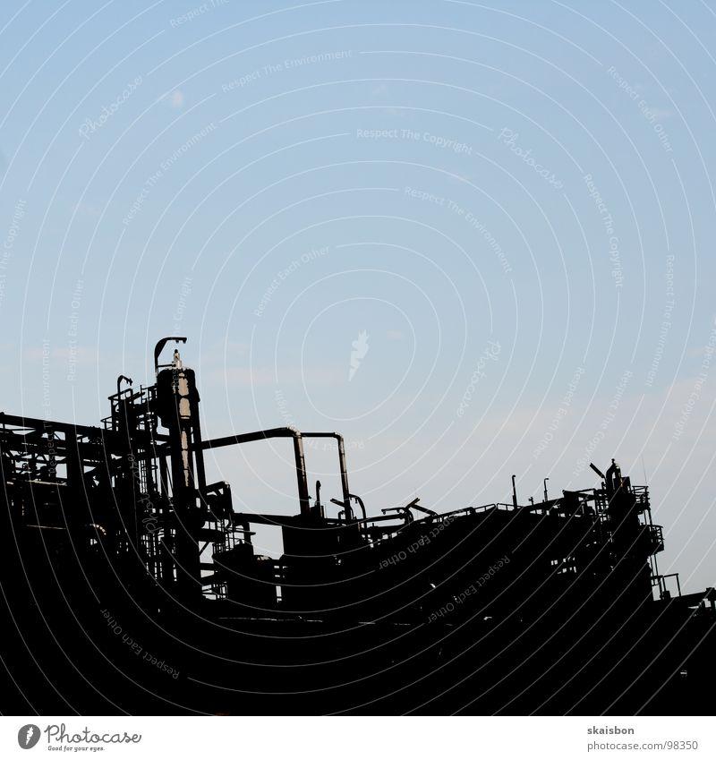 hafenmurks blau schwarz Industrie trist Technik & Technologie Quadrat Röhren Leitung gestalten filigran anstößig Freiraum bearbeitet einfarbig
