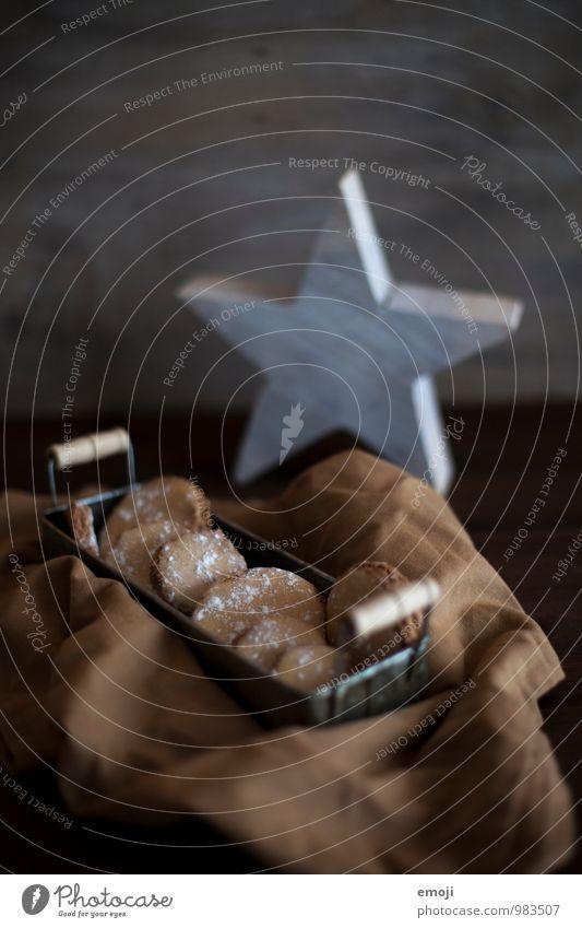 Kekse Weihnachten & Advent dunkel Ernährung Stern (Symbol) süß lecker Picknick Dessert Keks Weihnachtsgebäck Fingerfood Tablett