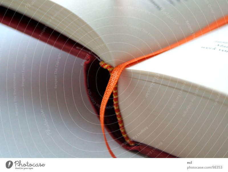 Lesezeichen Buch Text Roman Zettel rot weiß Aussage Erinnerung Gedanke Textilien Papier aufgeschlagen gebunden Bildung Kunst Kultur Nähgarn Vergangenheit