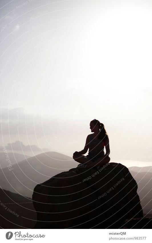 at peak time. Frau Erholung Einsamkeit ruhig Berge u. Gebirge feminin Freiheit Kunst Idylle Kraft Zufriedenheit sitzen ästhetisch Hoffnung Gipfel Wellness