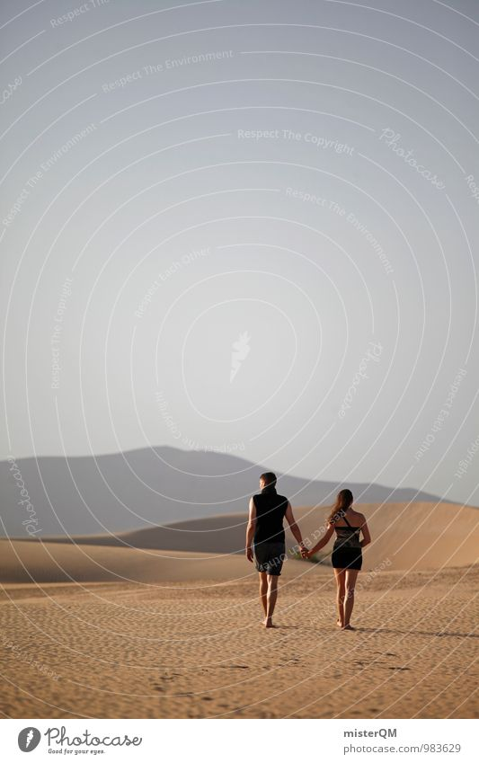Here We Go I Kunst ästhetisch Zufriedenheit 2 Wüste Einsamkeit Zusammensein Liebespaar Liebeserklärung Liebesbeziehung Zukunft ungewiss Hand in Hand Sommer